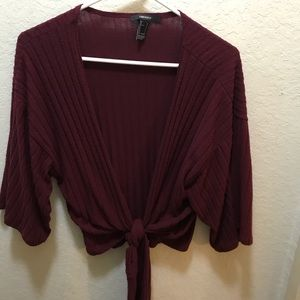 Forever 21 Cropped Burgundy Tie Front Sweater